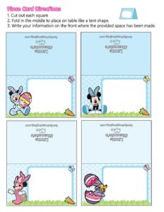 Place Cards Mickey Mouse Easter