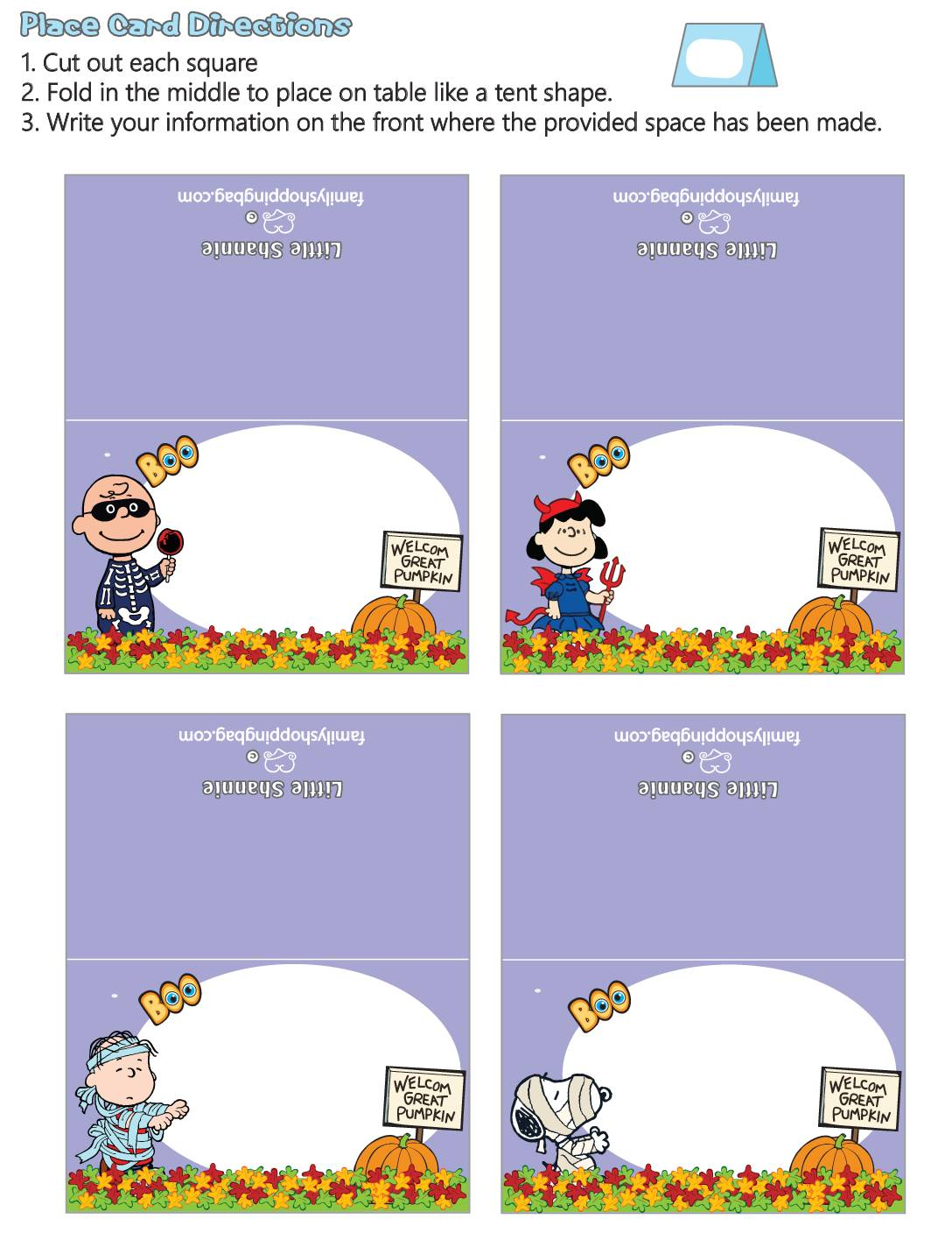 Place Cards Peanuts Halloween
