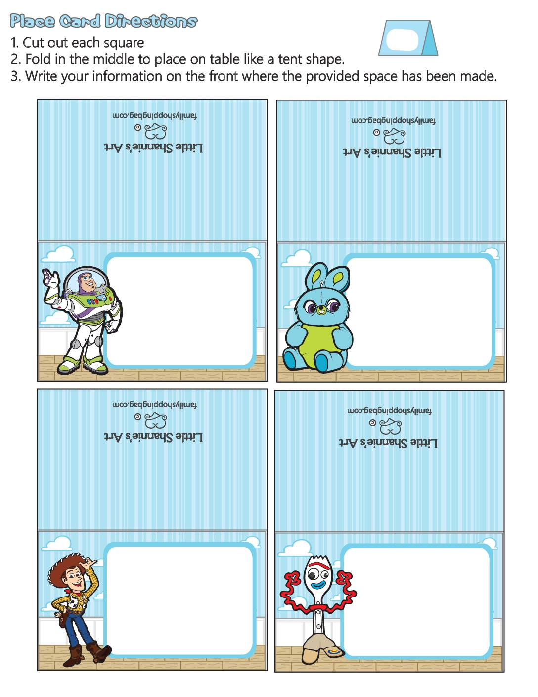 Place Cards Toy Story