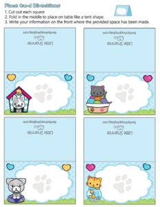 Place Cards Valentine Pups and Kittens