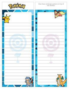 Pokemon List Paper