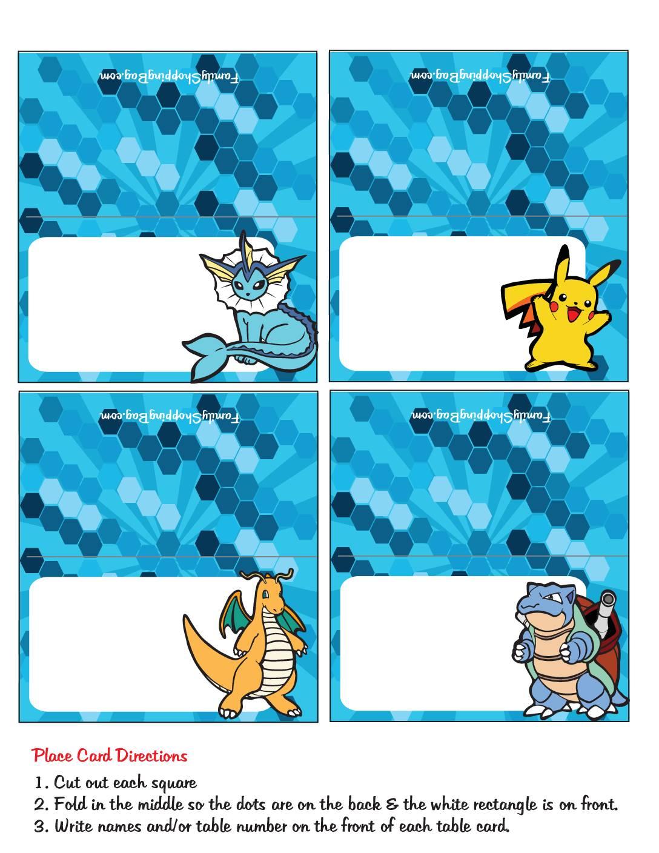 Pokemon Place Cards