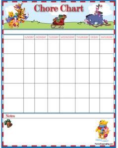 Pooh Christmas Chore List