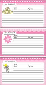 Princess Recipe Cards