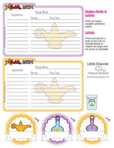 Recipe Cards Aladdin