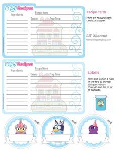 Recipe Cards Bluey