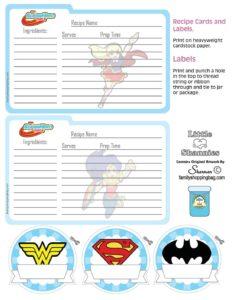 Recipe Cards DC Super Stickers