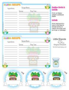 Recipe Cards Luau