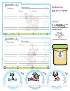 Recipe Cards Mickey Mouse Easter