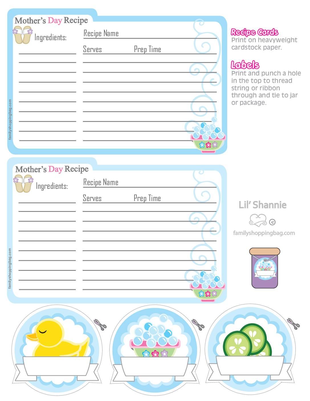Recipe Cards Moms Spa Day