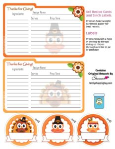 Recipe Cards Thanksgiving