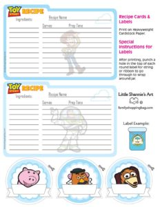 Recipe Cards Toy Story