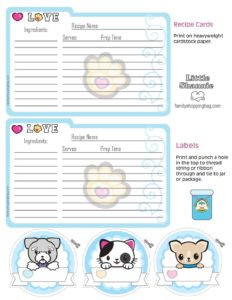 Recipe Cards Valentine Pups and Kittens