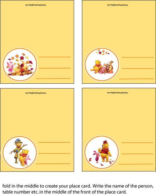 Seat Chart Thanksgiving Pooh