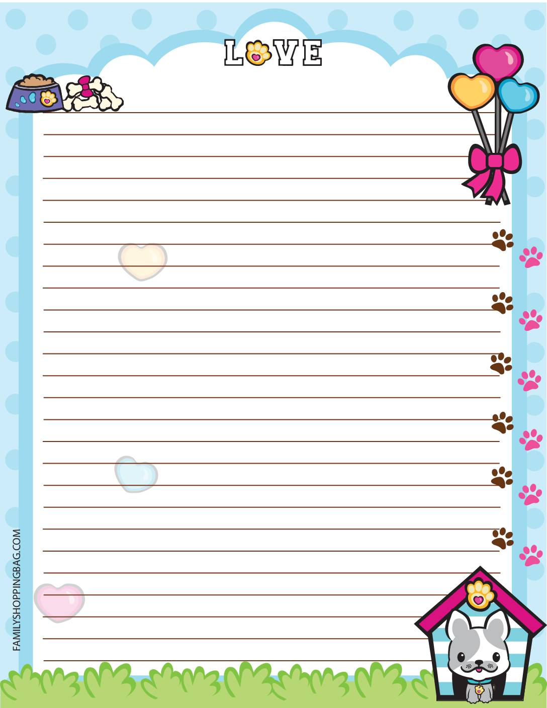 Stationery 2 Valentine Pups and Kittens