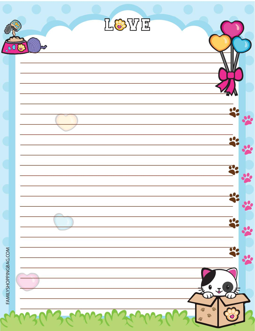 Stationery Valentine Pups and Kittens