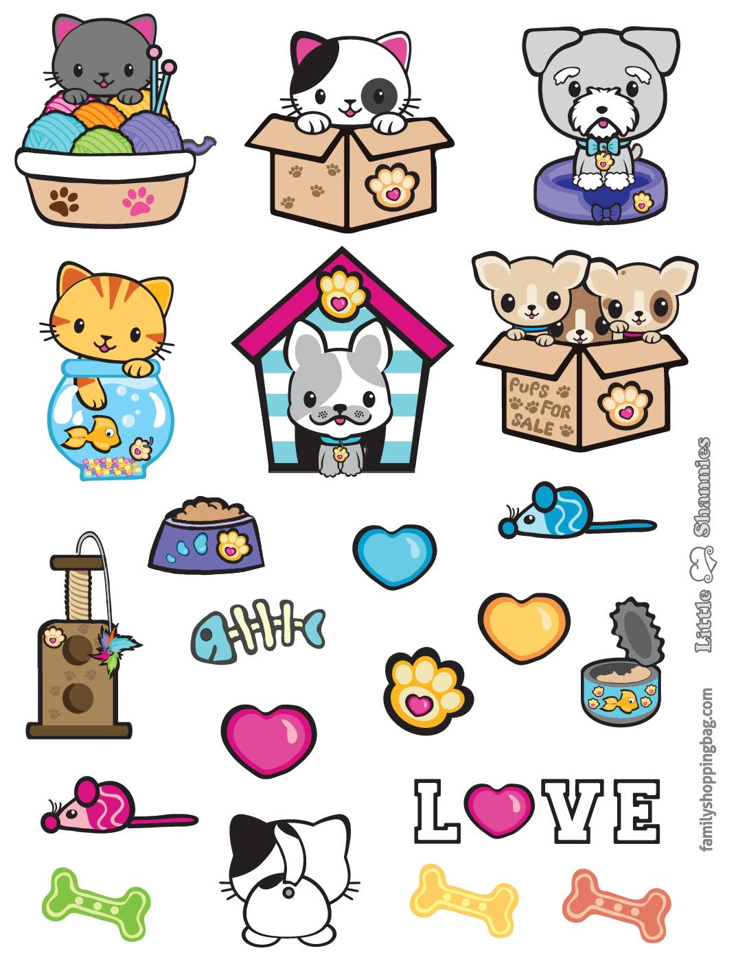 Stickers Valentine Pups and Kittens