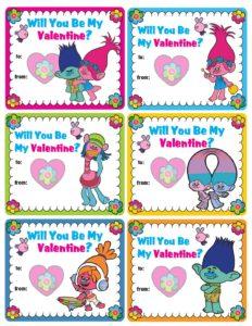 Trolls School Valentines