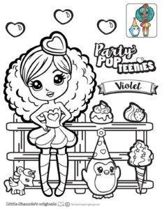 Violet Coloring Page Party Pop Teenies