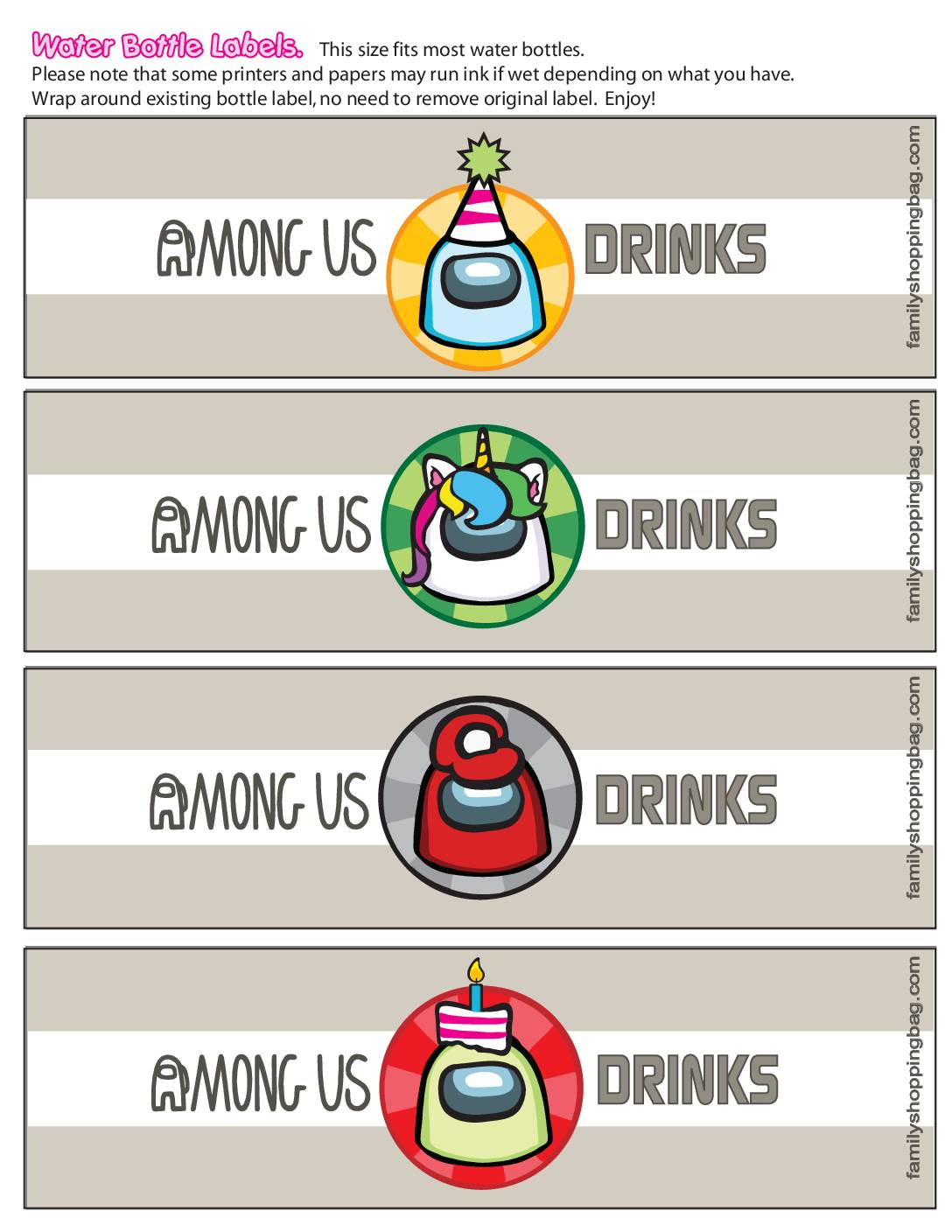 Water Bottle Labels Among US
