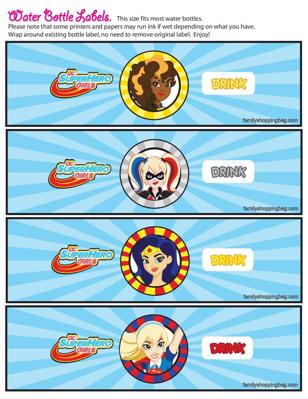 Water Label DC Super Hero Girls