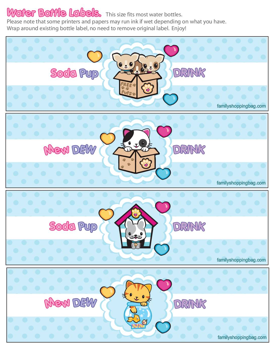 Water Label Valentine Pups and Kittens
