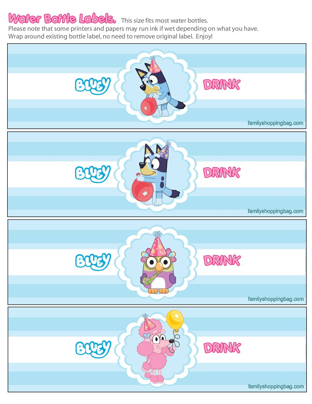 Water Labels Bluey