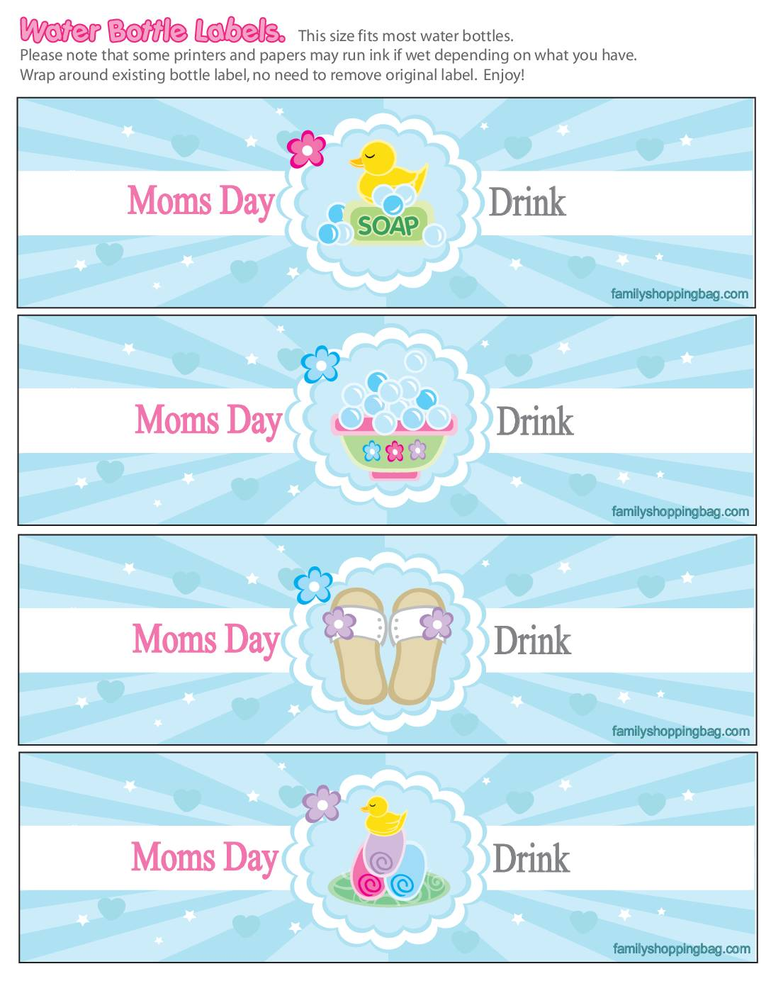 Water Labels Moms Spa Day