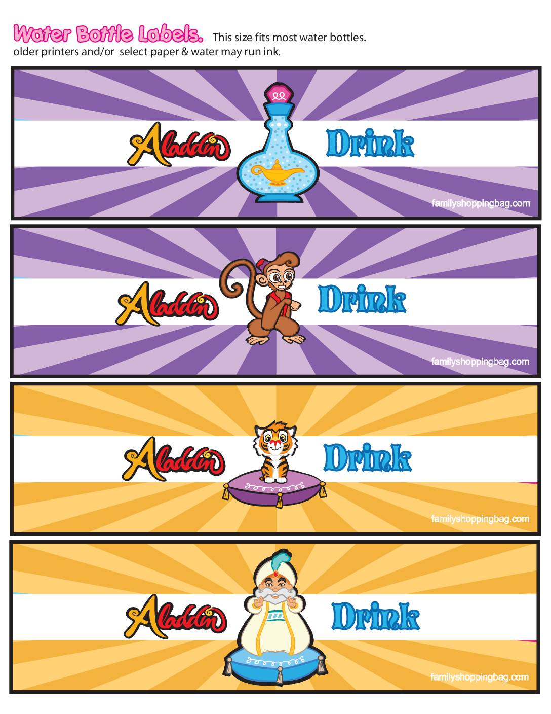 Water Labels Paper Aladdin