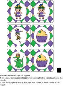 Mardi Gras Cupcake Tops