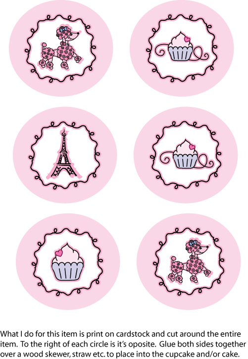 Cupcake Poodle Toppers