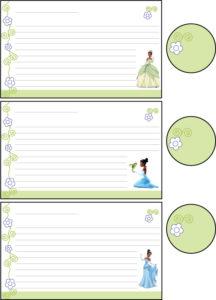 Recipe Cards Princess Frog