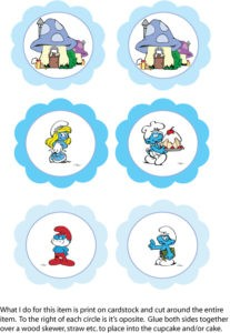Smurfs Cupcake Toppers