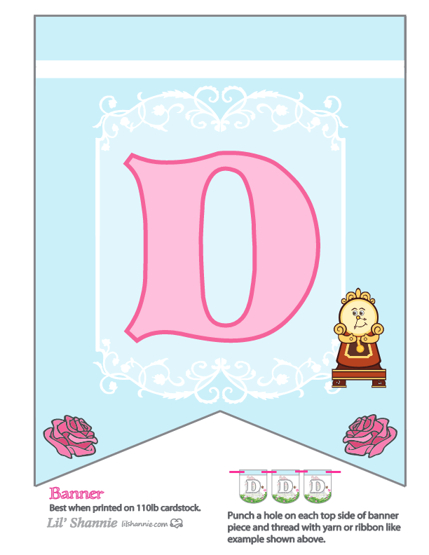 Beauty and the Beast Party Banner D