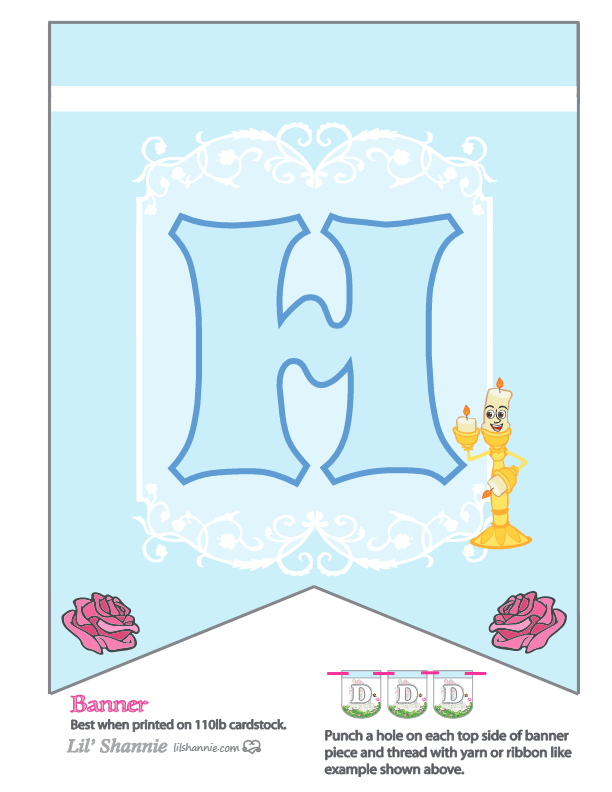 Beauty and the Beast Party Banner H