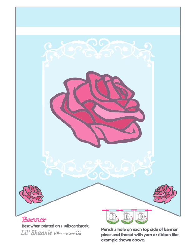 Beauty and the Beast Rose Party Banner