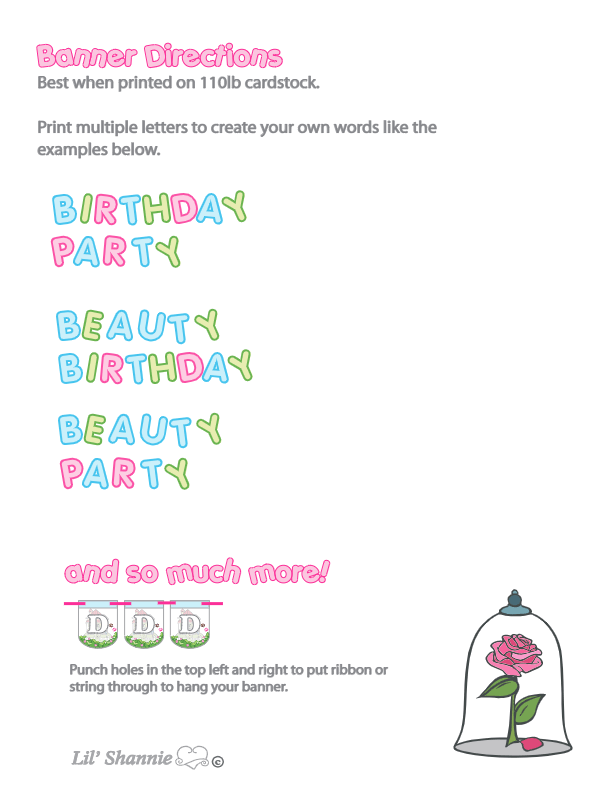 Beauty and the Beast Party Banner Directions