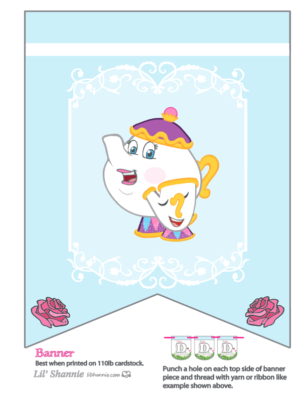 Beauty and the Beast Tea Pot Party Banner