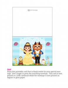 Beauty and the Beast Card