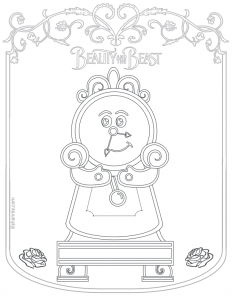 Beauty and the Beast Clock Coloring Page