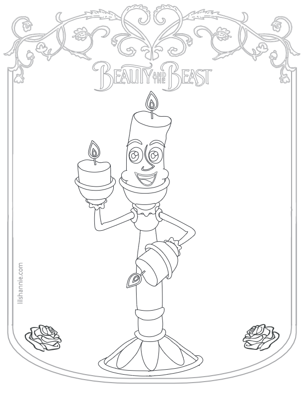 Beauty and the Beast Candle Coloring Page