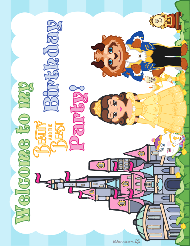 Beauty and the Beast Party Sign