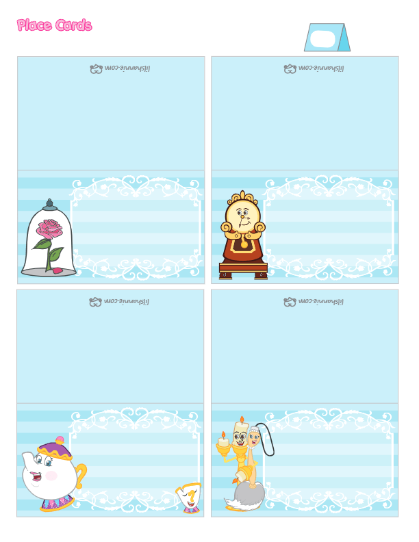 Beauty and the Beast Place Cards