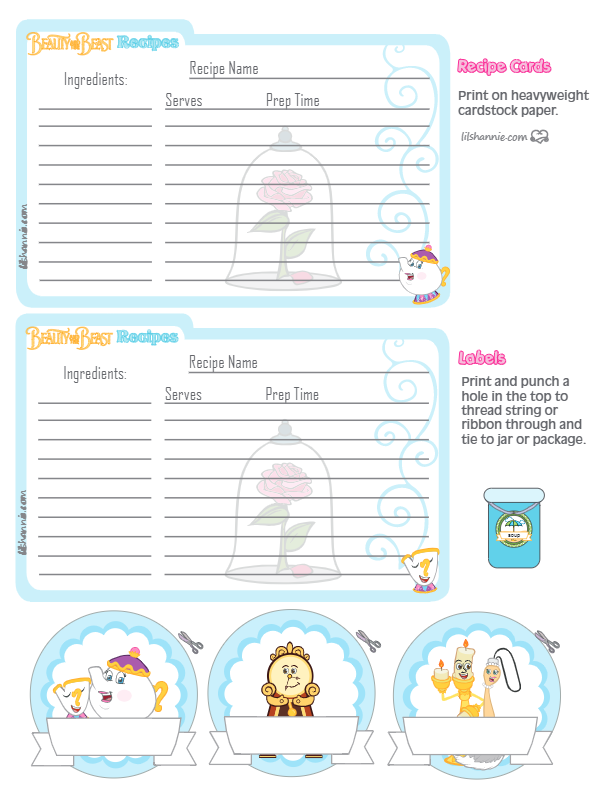 Beauty and the Beast Recipe Cards