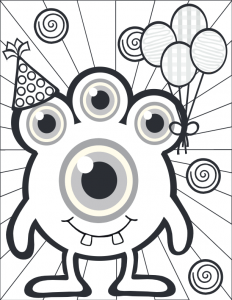 Three Eyed Monster Coloring Page