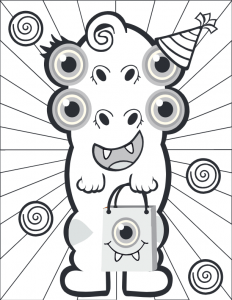 Four Eyed Monster Coloring Page