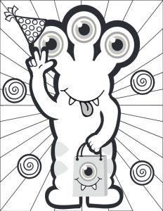 Three Eyed Large Monster Coloring Page