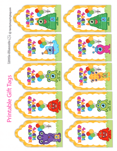 Monsters Party Gift Tags