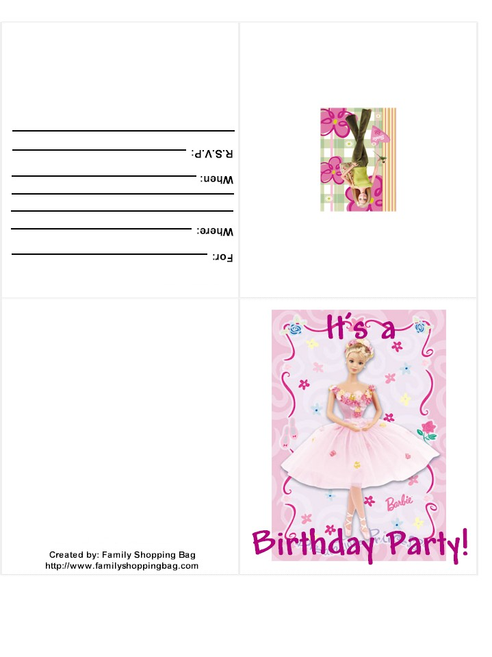 Click here to Print · Barbie Party Invitation
