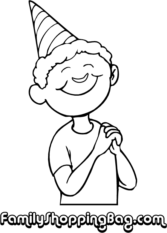 Boy with birthday hat for Coloring pages of birthday hats